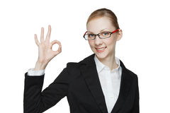 Caucasian woman to make a finger Stock Photography