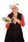 Caucasian woman, traditional Christmas cake Royalty Free Stock Photos