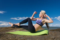 Caucasian woman training outside Stock Photography