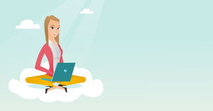 Caucasian woman using cloud computing technologies. Young caucasian business woman sitting on a cloud and working on a laptop. Business woman using cloud Royalty Free Stock Photo
