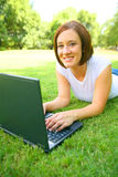 Caucasian Woman Using Laptop Outdoor Royalty Free Stock Image