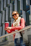 Caucasian woman Vivacious in City with a beautiful beaming smile Royalty Free Stock Images