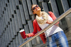 Caucasian woman Vivacious in City with a beautiful beaming smile Stock Photography