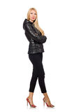 The caucasian woman wearing black jacket isolated on white Royalty Free Stock Photography