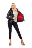 The caucasian woman wearing black jacket isolated on white Stock Photography