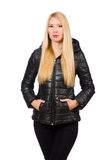 The caucasian woman wearing black jacket isolated on white Royalty Free Stock Image