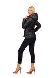 The caucasian woman wearing black jacket isolated on white Stock Image