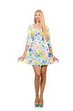 The caucasian woman wearing floral dress isolated on white Royalty Free Stock Photo