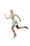 The caucasian woman wearing floral dress  on white Stock Photos
