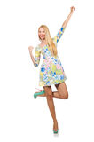The caucasian woman wearing floral dress  on white Stock Photography
