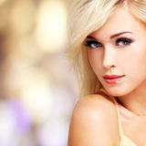 Caucasian woman with white hairs Royalty Free Stock Photo