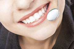 Caucasian Woman White Teeth with Dentist Mouth Mirror. Stock Photo
