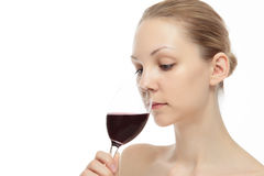 Caucasian woman with wine Royalty Free Stock Photography