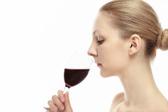 Caucasian woman with wine Royalty Free Stock Photo