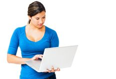 Caucasian woman working on laptop Royalty Free Stock Photography