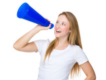Caucasian woman yell with megaphone Stock Photography