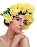 Caucasian woman with yellow flowers wreath around her head Royalty Free Stock Image