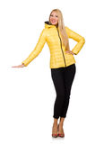 The caucasian woman in yellow jacket isolated on white Stock Image