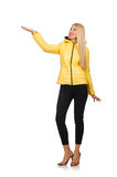 The caucasian woman in yellow jacket isolated on white Royalty Free Stock Images