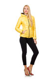 Caucasian woman in yellow jacket isolated on white Royalty Free Stock Image