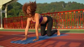 Attractive sportswoman trains with nature landscape. Caucasian woman yoga asana downward facing dog on the bridge. young girl with curly hair trains with view on stock footage