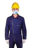 Caucasian worker with protection clothes. Young worker with protection clothes background Stock Images