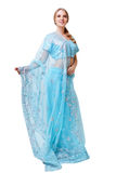 Caucasian young woman in blue indian national dress isolated Royalty Free Stock Photos
