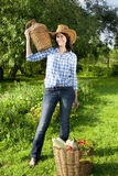 Caucasian young woman in cowboy hat Stock Photography