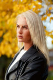 Caucasian young woman with long blond hair on autumn day. Portrait in profile of beautiful caucasian young woman with long blond hair in nature on autumn day Stock Photography