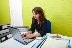 Caucasian young woman working on her laptop computer at her desk Stock Images