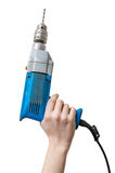 Caucasians man's hand holds drill. Maintenance concept royalty free stock photography