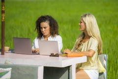 Caucasien féminin de deux amis et travail Afro ensemble dehors au café d'Internet frais avec l'ordinateur portable en tant que tr Photos libres de droits
