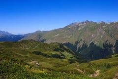 Caucasien principal Ridge et prés alpins avec des fleurs de rhododendron Photos libres de droits