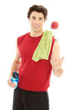 Caucasion male just after a workout isolated on white Stock Image