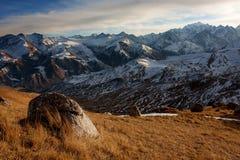 Caucasus. View to the mountains from the Ak-Kaja slope stock photos
