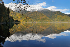 Caucasus. Abkhazia. Riza lake, autumn Royalty Free Stock Photography