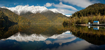 Caucasus. Abkhazia. Riza lake. Panorama Royalty Free Stock Image