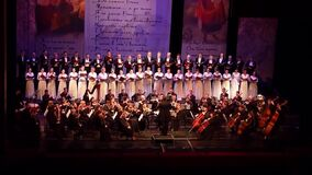 Caucasus  Cantata symphony. Dnipro, Ukraine - March 10, 2018: Caucasus - Cantata symphony for choir and symphony orchestra by S.Lyudkevych performed by members stock video footage