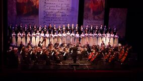 Caucasus Cantata symphony. Dnipro, Ukraine - March 10, 2018: Caucasus - Cantata symphony for choir and symphony orchestra by S.Lyudkevych performed by members stock video