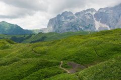 Caucasus. Mountains, Fisht, road to the top Royalty Free Stock Photos