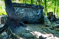 Caucasus dolmen in forest. Ancient portal dolmen standing in scenic forest Royalty Free Stock Images