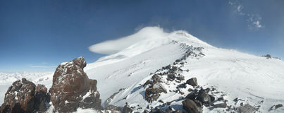 Caucasus. Elbrus Mount view. Panorama. Stock Photography