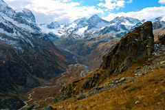 Caucasus gorge in the valley of the river Myrda royalty free stock photo