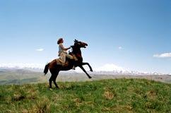 caucasus horsewoman 库存照片