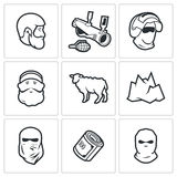 Caucasus icons. Vector Illustration. Royalty Free Stock Photos