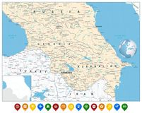 Caucasus Map and Colorful Map Markers Royalty Free Stock Images
