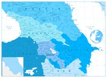 Caucasus Map in Colors of Blue Royalty Free Stock Image
