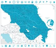 Caucasus Map and Navigation Icons Royalty Free Stock Images
