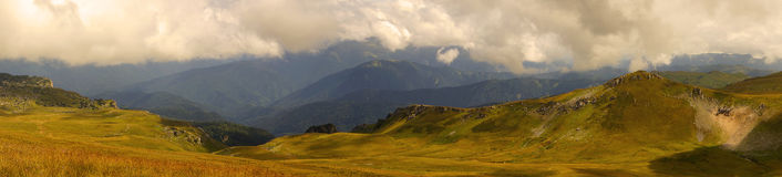 Caucasus mountain landscape. Lago-Naki plateau panorama Stock Photo