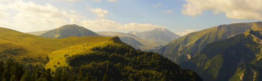 Caucasus mountain landscape. View of the river canyon and mountain Tsitsa Oshten Royalty Free Stock Image